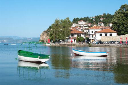 lake dwelling: Ohrid village and row boat on the lake, Republic of Macedonia