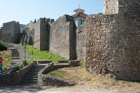 turreted: the massive turreted walls of Samuil castle near the UpperGate (Gorna porta) in Ohrid, Republic Of Macedonia