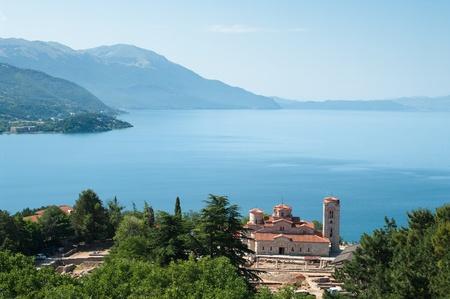 panteleimon: high view of Sveti Kliment Church on majestic Ohrid lake, Republic of Macedonia   Stock Photo