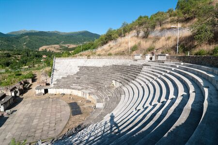 conquered: the roman emperor Hadrian built the theater in Heraclea Lyncestis founded by Philip of Macedon and conquered by the Romans two centuries later