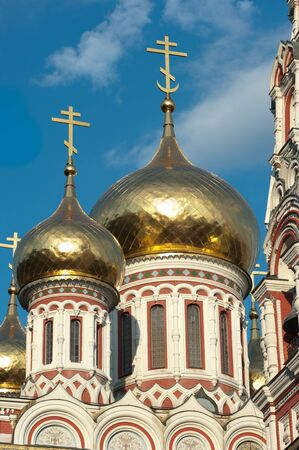 golden onion domes of orthodox church Nativity Memorial in Shipka, Bulgaria. The magnificent structure was built in 1902 as a dedication to soldiers who died during the Russian-Turkish War (1877�78)