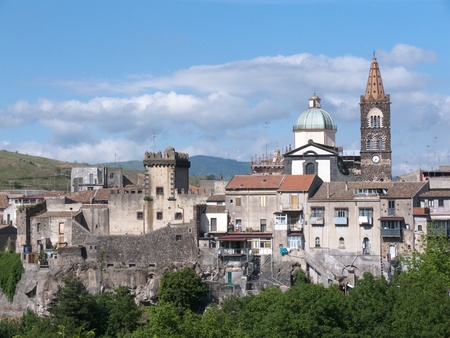 sicily: view of tower and belltower of St. Martino church in medieval village of Randazzo, Italy