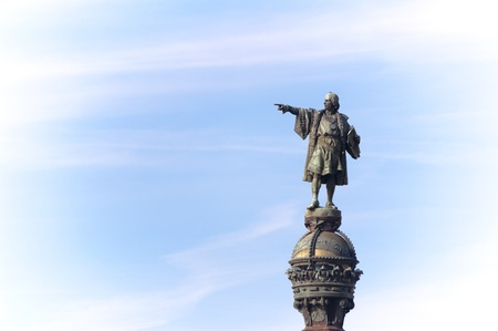 Christopher Columbus indicates the way, Barcelona, Spain photo