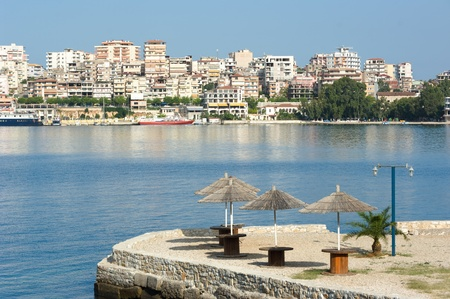 albanian: waterfront of Saranda, one of the most important tourist attractions of the Albanian Riviera