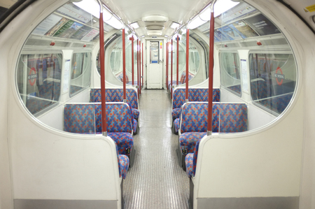 compartment: interior view empty compartment of London Tube