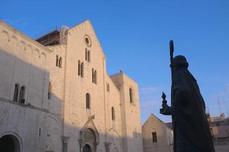st nicholas: basilica and silhouette statue of St  Nicholas thaumaturge in old Town of Bari