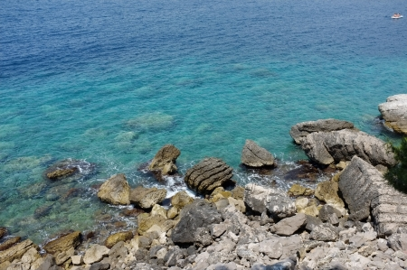 rocky coast and the seaside of Ratac Cape, Montenegro Stok Fotoğraf