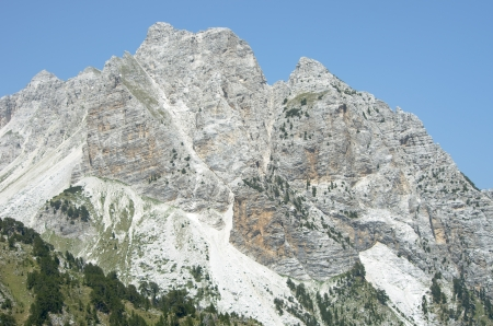 cursed: some peaks of Albanian Alps, also called Accursed Mountains, from the Valbona Pass