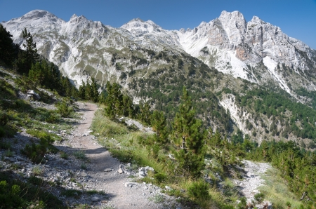 albanian: panorama of mountain range Albanian Alps from the trail that by the pass of  Valbona go down into the Valley with the same name Stock Photo