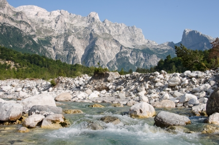 Shale: the Shale River in Theth National Park, Albania