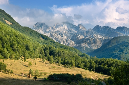 cursed: panorama of mountain range in the Kelmend Commune, Albania