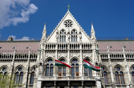 obuda: Budapest, the official entrance main of the Hungarian Parliament Building, built in neo-Gothic, in the Kossuth square