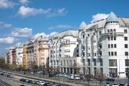 typical architecture style art nouveau of residential buildings on the Danube riverside of Pest, located near Chain Bridge Stock Photo - 22199995