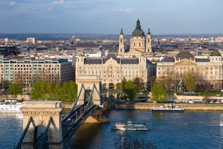 obuda: Budapest, panorama on the Chain Bridge and the Danube River, the Gresham Palace and the St  Stephen Editorial