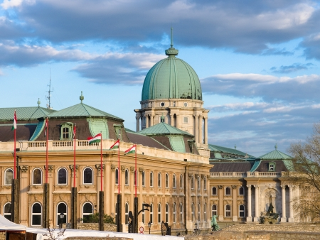 Buda Castle is the historical castle and palace complex of the Hungarian kings in Buda, it was also called Royal Palace and Royal Castle, Budapest Stock Photo - 22201736