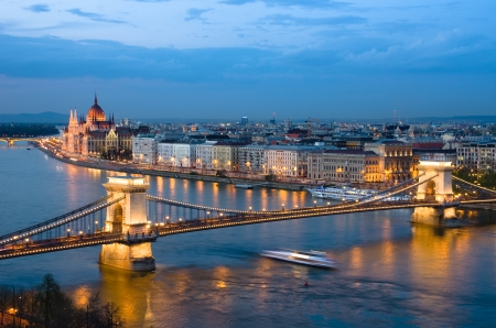 Budapest, night view of Chain Bridge on the Danube river and the city of Pest
