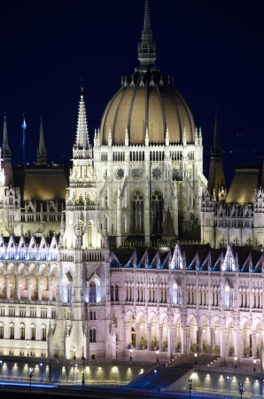 neogothic: Budapest, spires and dome of Hungarian Parliament building in neo-gothic style