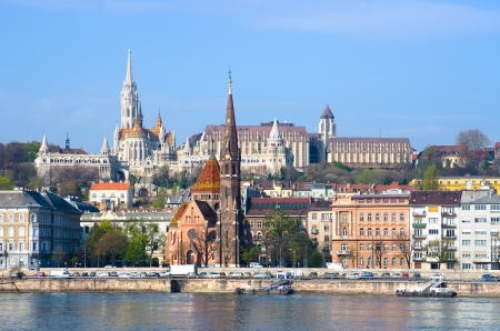 view of landmarks on the hills of Buda in Budapest Stock Photo