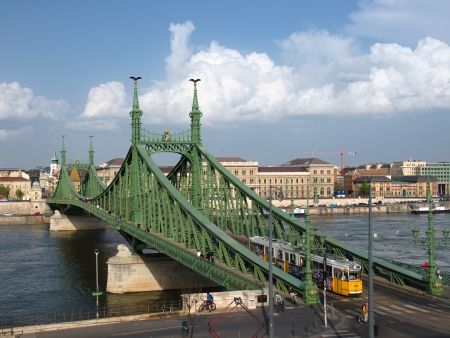 Budapest, the Liberty Bridge  sometimes Freedom Bridge  in style Art Nouveau connects Buda and Pest across the River Danube Stock Photo - 22200061