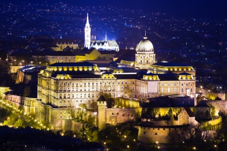 obuda: Buda Castle or Royal Palace and city at night in Budapest