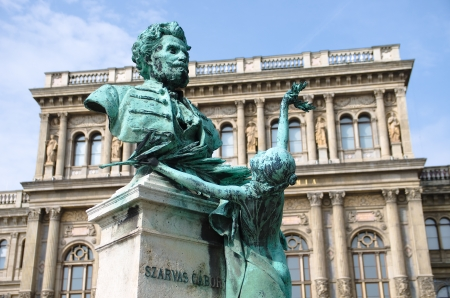obuda: statue of Gabor Szarvas, the linguist, was the first to fight for the Hungarian language culture, Budapest Stock Photo