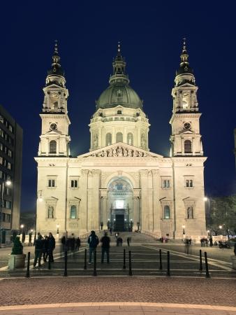 obuda: St  Stephen Basilica by night in Budapest, Hungary