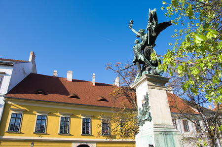 obuda: Indipendence War monument in Disz square of Castle district in Budapest
