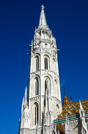 obuda: belltower of Matthias Church on Castle Hill in Budapest, officially named the Church of Our Lady Stock Photo