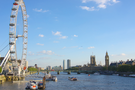 London Eye, Westminster Bridge and Big Ben on the banks of Thames River at the evening