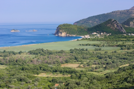 budva: the coast and the seaside of Buljarica Bay, Montenegro Stock Photo