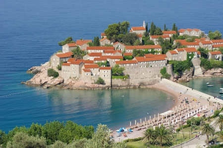 islet: Sveti Stefan is a islet and hotel resort nearby Budva in Montenegro Stock Photo