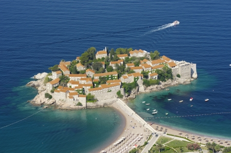islet: high view of fortified village on the islet Sveti Stefan, Montenegro