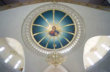 interior view of dome with image of Jesus Christ in Cathedral of Resurrection - Tirana Editorial