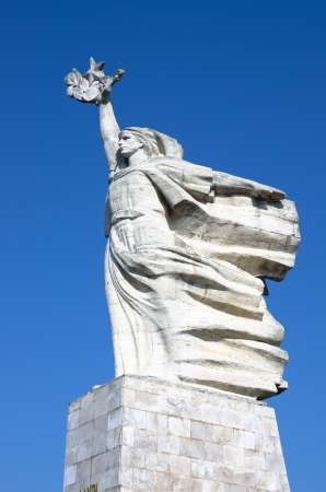 star wars: The 12m-high dynamic white statue of  Mother Albania  in  National Martyrs Cemetery of Albania, located on a hill overlooking Tirana Stock Photo