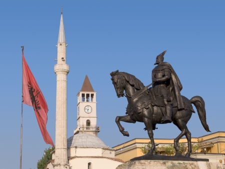 albania: Statue of Skanderbeg  national hero of the Albanians , Ethem Bey mosque and the Clock Tower in Skanderbeg Square, Tirana