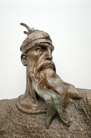 albanian: a bronze head sculpture of the national hero G  K  Skanderbeg located inside the National Museum built inside the Kruja Castle Editorial
