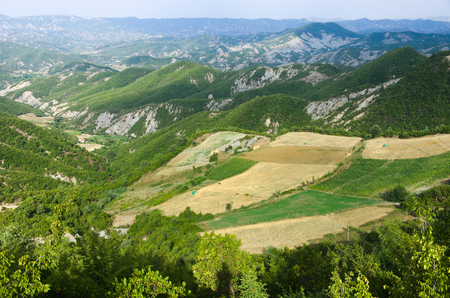 albania: landscape of highlands on the road from Tirana to Elbasan