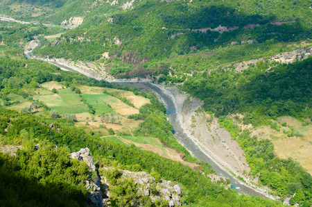 albania: high view of the Erzen River Valley from footpath to the Pellumbas Cave, Albania