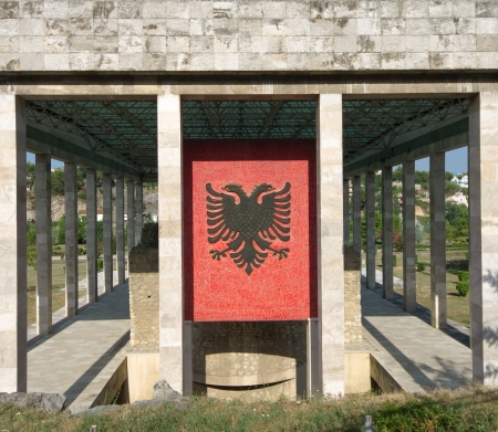doubleheaded: the double-headed eagle, the national flag of the Albanians, on the facade of Skanderbeg mausoleum in Lezhe - Albania