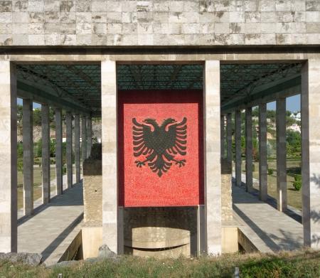 double headed: the double-headed eagle, the national flag of the Albanians, on the facade of Skanderbeg mausoleum in Lezhe - Albania