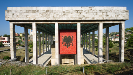 double headed: the double-headed eagle, the national flag of the Albanians, on the facade of Skanderbeg Mausoleum in Lezhe - Albania
