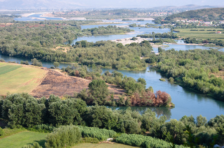 floodplain: aerial view of the Buna River after the confluence with the Drin River from Rozafa Castle, Shkodra