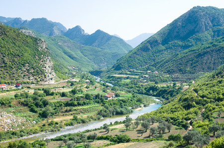 albanian: idyll valley of Kiri river from the hills of the Drisht Castle, Skhodra