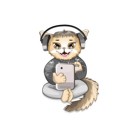character cat listening to music from your smartphone