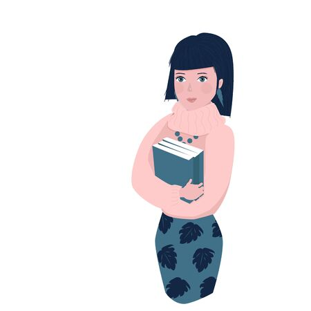 pensive girl with books in a sweater isolated on a white background. cartoon character.