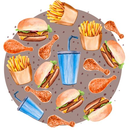 watercolor illustration with hamburger, french fries and a drink on a circle background Foto de archivo - 135498708