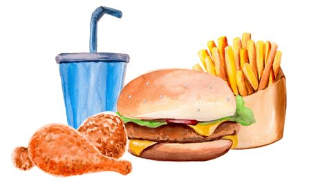 watercolor set with hamburger, fries and a drink Foto de archivo - 135502397