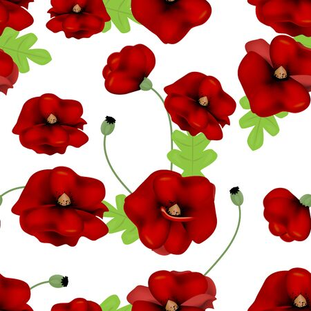 Seamless pattern of red poppies on a white