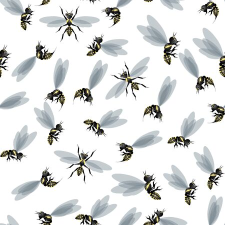 seamless pattern with wasp in carton style. suitable for printing on fabric or wallpaper