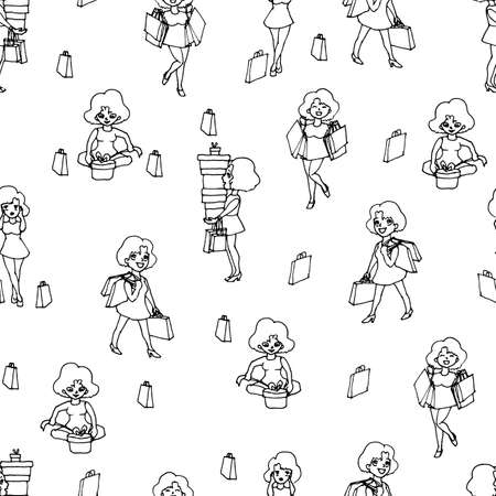 seamless of women s elements. seamless girl background with shopping in linear style hand drawn